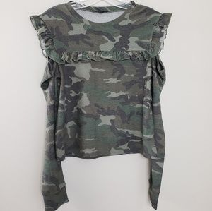 Drew Camo Cold Shoulder Long Sleeve Top Size XS